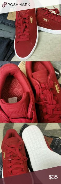 PUMA Suede Classic Debossed Q3 Barbados Cherry 9 New In Box PUMA Suede.  Sz 42 EUR = 8 UK = 9 US OG style with modern enhancements. Textile and Sockliner add nice cushioning. I bought 2 pair when they dropped and am selling the NIB NBW pair. I collect kicks and in my spare time do customs. These are DS mint Puma Sneakers! Puma Shoes Sneakers