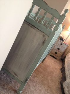 mint green and taupe distressed crib
