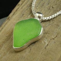 Genuine Lime Green Sea Glass Pendant Bezel Set in Sterling Silver