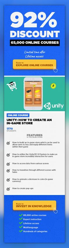 Unity: How To Create An In-Game Store Game Development, Development #onlinecourses #onlinelessonsstudent #onlinecoursesfree  Learn how to create a in-game store manager where users can buy various items with in-game currency **THIS COURSE IS NOT FOR COMPLETE BEGINNERS. YOU SHOULDHAVE A BASIC TO DECENT UNDERSTANDING OF THE UNITY3D GAME ENGINE AND THE C# PROGRAMMING LANGUAGE** **FINALLY LEARN THE ...
