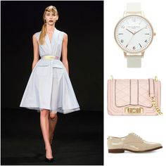 Head to a lunch date with the girls or any other afternoon outing in this @zuzanakubickova summer dress, paired with an #oliviaburtonwatch , #rebeccaminkoff clutch and #dunelondon wing tips. #summerfashion #lunchdate #czechdesigner #whattowear
