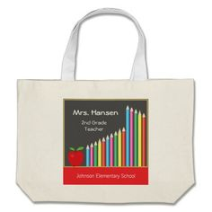 Chalkboard & colored pencils teacher bag with customizable text.