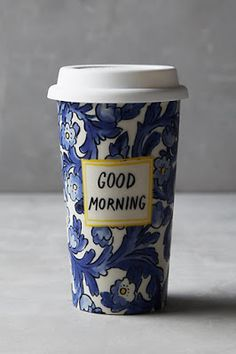 Good morning hand painted glass travel mug. Fall favorites at anthropologie
