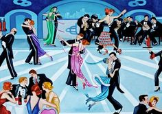 """Art Deco - The Roaring 20""""s Dance Marathon Oil Painting by k Madison Moore, painting by artist k. Madison Moore"""
