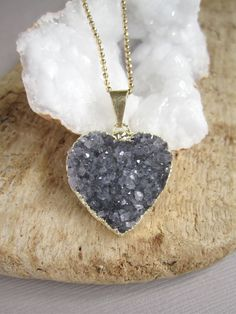 Druzy Heart Necklace Blue Drusy Quartz Gold Vermeil Ball Chain Diamond Cut