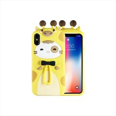 Giraffe&Rabbit Animal Cartoon Soft Silicone Cover Cute iPhone Ca Cool Phone Cases, Iphone Cases, Pink Rabbit, 3d Cartoon, Mobile Accessories, Giraffe, Smartphone, Make It Yourself, Phone Cover