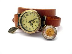 Wrap Watch with Real Daisy - working bronze wrist watch, genuine leather with real daisy plus leaf charm on Etsy, $35.90