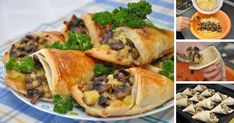 Mushrooms,potatoes,cheese and puff pastry Eggs In Peppers, Savory Pastry, Good Food, Yummy Food, Stuffed Mushrooms, Stuffed Peppers, Holiday Tables, Food Menu, Tasty Dishes