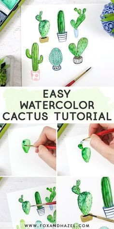 Come and learn how to paint a watercolor cactus in 6 different ways! Perfect to start with … – Architecture and Art – Come and learn how to paint a watercolor cactus in 6 different ways! Perfect to start with – cactus Watercolor Beginner, Watercolor Paintings For Beginners, Watercolour Tutorials, Watercolor Techniques, Watercolor Projects, Painting Tutorials, Beginning Watercolor Tutorials, Beginner Painting, Watercolor Succulents