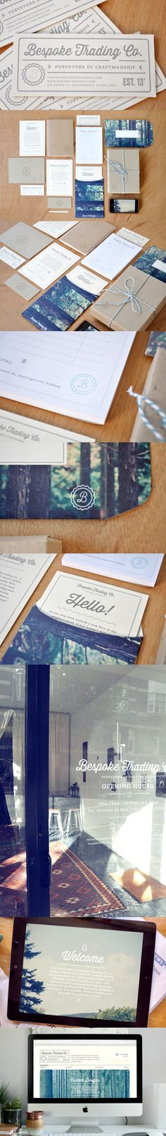 Bespoke Trading Co. Bespoke Trading Co / by Olivia King / logo / identity / branding / stationary / application / business card / rural / natural / rustic / outdoorsy / clean / trees Brand Identity Design, Corporate Design, Graphic Design Typography, Branding Design, Logo Design, Identity Branding, Corporate Identity, Visual Identity, Web Design