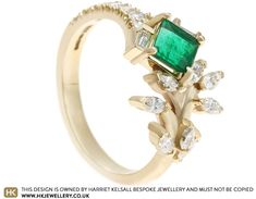 Kelly's Yellow Gold Emerald and Diamond Dress Ring Marquise Cut Diamond, Diamond Cuts, Diamond Dress, Kelly S, Asymmetrical Design, Dress Rings, Jewellery Designs, Antique Rings, Yellow Gold Rings