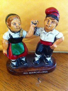 "Folk Art  Wood Carving Couple Dancers Spanish RD Barcelona 3 1/4"" Blue Red Black"