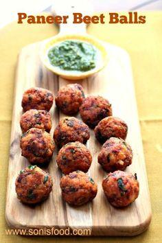 Paneer Beet Balls- An easy party appetizer! Milk Recipes, Veg Recipes, Indian Food Recipes, Vegetarian Recipes, Cooking Recipes, What's Cooking, Indian Appetizers, Indian Snacks, Appetizers For Party