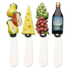 Boston Warehouse Wine and Cheese Spreader, Set of 4 by Boston Warehouse. $14.12. Stainless steel blade and hand painted handle. Set of 4 spreaders. Hand wash recommended. 5-Inch long. By boston warehouse - creative ideas for home entertaining; holiday design. The Boston Warehouse set of 4 Wine and Cheese Spreaders provide decorative theme and variety to your table. Useful for spreads, dips, and soft cheeses the 5-Inch stainless steel blades and uniquely hand painted handl...