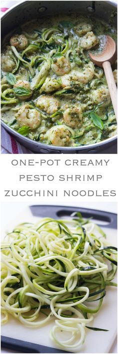 One-Pot Creamy Pesto Shrimp Zucchini Noodles - saucy shrimp in creamy pesto over tender crisp zucchini noodles. On the table in 30 min! | http://littlebroken.com @littlebroken