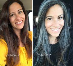 Grey Hair Don't Care, Long Gray Hair, Silver Grey Hair, Gray Hair Growing Out, Grow Hair, Pretty Nose, Grey Hair Transformation, Grey Hair Inspiration, Gray Hairstyles