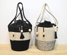 Mia Mélange pull string tote bags! Strings, Cotton Rope, Pull, Tote Bags, Boutique, Collection, Black, Ideas, Things To Draw