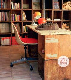 A different home office, ecological and rustic.