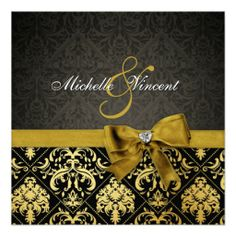 Elegant Black and Gold Damask with heart diamond Personalized Announcements