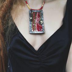 Verlötet Glas bestickten Sari Textile Kette von quisnam auf Etsy