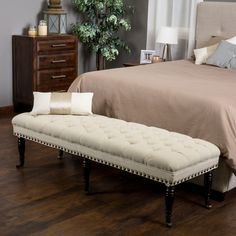 Hastings Tufted Fabric Ottoman Bench by Christopher Knight Home (Ivory), Beige Off-White, Size Oversized (Brass)