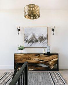 Hallway loft lighting and decor.  #lightingdesign #lighting #blackfixtures #goldfixtures #hallwaydecor #homedecor #interiordesign