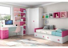 Cama compacta armario rincón estantes escritorio
