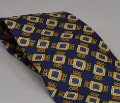Cravatte Tie Mens Necktie Valentino Italian Square Silk Navy Yellow Italy Short #Valentino #Tie
