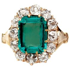 Gorgeous Victorian Emerald Diamond Engagement Ring | From a unique collection of vintage engagement rings at https://www.1stdibs.com/jewelry/rings/engagement-rings/