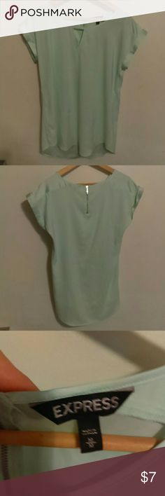 Express shirt T-shirt length never worn T-shirt dress shirt.  Never worn super cute zipper in back and back is a bit longer perfect with black leggings medium Express Tops