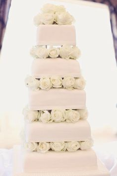 5 Tier Wedding Cake, Fresh Flowers