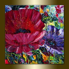 Poppy Poppies Floral Canvas Modern Flower Oil Painting Textured Palette Knife Original Art 16X16 by Willson Lau
