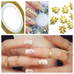Ultimate Salon Nail Art Bundle Ultimate manicure salon nail art bundle   5  gold leaf weed 3D metal decals nail wheel of gold, black, and silver nail decals. Over 60 pieces  2 gold nail striping tape   No trades Jewelry