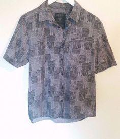 Guess Men's Small Button Front  Short Sleeve Short Black Gray 100% Cotton #GUESS #ButtonFront