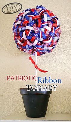 DIY Patriotic Ribbon Topiary – Top Easy July 4th & Spring Holiday Decor Design Project - Homemade Ideas (2)