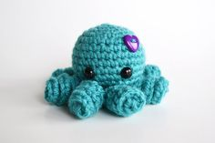 Amigurumi Octopus  Crocheted in Turquoise with by BubblegumBelles, $18.00