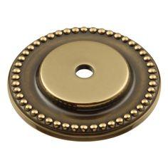 1-1/2 In. Sherwood Antique Brass Savannah Solid Brass Cabinet Knob BackPlate P144