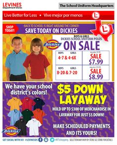DON'T COMPROMISE - Save on kids Dickies school uniform polos at Levines Department-Stores! Kids school uniform polos as low as $7.99