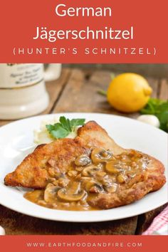 German comfort food at its finest! This jägerschnitzel recipe is an easy pork schnitzel recipe you can make at home, topped with a rich mushroom gravy. #schnitzel #Jägerschnitzel #germanrecipes Skinny Chicken Recipes, Pork Recipes, Schnitzel Recipes, Pork Schnitzel, Jaegerschnitzel Recipe, Pork Roast In Oven, Pork Hock, Mushroom Gravy, Oktoberfest