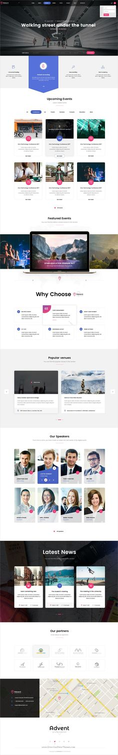 Advent is clean and modern design PSD template for #conference and #event management company website with 8 homepage layouts & 53 layered PSD pages download now #webdev