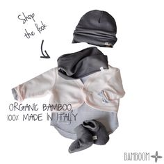 Shop the look: mini cardigan + stripes shirt + hat + scarf + booties - organic bamboo - 100% made in Italy