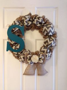 Personalized Chevron Burlap Wreath by SavvySweetBoutique on Etsy,