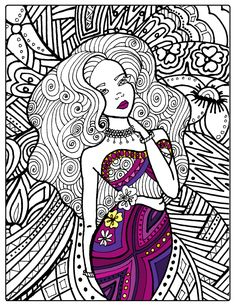 Fantasy Art Adult Coloring Book Page by LovableLynzi on Etsy
