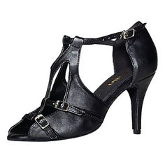 Customized Women's Leatherette T-Strap Latin / Ballroom Dance Shoes With Buckle – USD $ 29.99