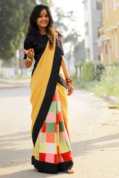 Pure crepe patch work pleat in green, red, pink & yellow color with ochre yellow pure georgette palla. 4 inches Border is in pure sutin in black color. Sari or saree Indian Attire, Indian Outfits, Indian Wear, Indian Wedding Guest Dress, Indian Bridal, Indian Skirt, Simple Sarees, Trendy Sarees, Casual Saree