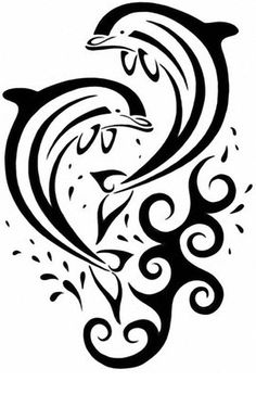 35 Dolphin Tattoos and Tattoo Designs - muster tiere - Tattoo Airbrush Tattoo, Haida Kunst, Dolphin Drawing, Dolphins Tattoo, Minimalist Drawing, Stencil Patterns, Kirigami, Pyrography, String Art