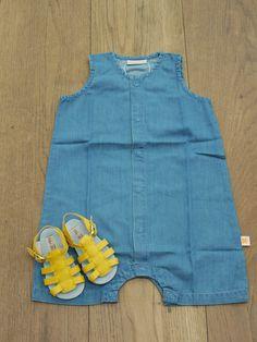 Unisex soft shorts denim one piece, £33 Handmade Yellow Leather Sandals, £55