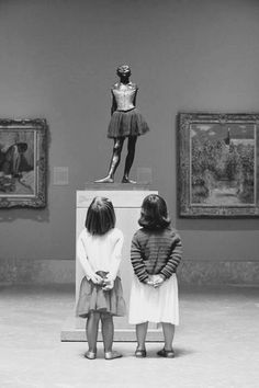 (French: La Petite Danseuse de Quatorze Ans) is a c. 1881 sculpture by Edgar Degas of a young student of the Paris Opera Ballet dance school, a Belgian named Marie van Goethem. Paris 3, I Love Paris, Edgar Degas, Oeuvre D'art, Marie, Art Gallery, In This Moment, Black And White, Cool Stuff