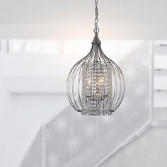 """13.5"""" Compact Satin Nickel and Crystal Pendant Chandelier - 14340221 - Overstock.com Shopping - Great Deals on The Lighting Store Chandeliers & Pendants"""