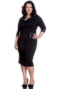 3433f6b3688 Hell Bunny Plus Size London Rock First Lady Black Pencil Dress with Bow and  Polka Dot